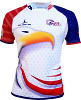 Olorun American White Tails Rugby Shirt - Red/White/Blue S-7XL