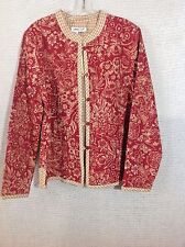Coldwater Creek Light Jacket Floral Gingham Reversible Red Tan Button Down NWT