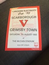 Scarborough V Grimsby Town 1993 Yorkshire Cup Soccer/football Programme