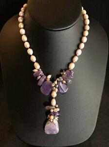 "Freshwater Pearl Necklace Pink + Lavender Amethyst Y Drop 16-19"" Gold Pltd #1655"