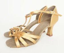 Very Fine Gold Copper Satin Salsa Ballroom Dance Shoes Heels Open Toe Size 6