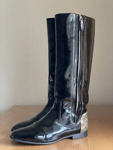 Authentic Chanel Black Patent Leather Logo Zip Riding Boots Size EU 39 US 9