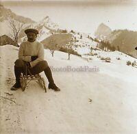 Neige Slitta Francia Suisse Foto Stereo PL59L1n34 Placca Da Lente Vintage c1910