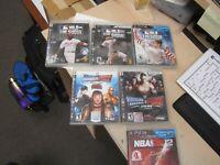 Sony Playstation 3 Lot of 6 Games 3- Baseball, 2- Wrestling, 1 - Basketball !!