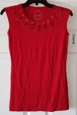 $59 NWT INC International Concepts Red Womens Grommet Lace-Up Top Size XS XSmall