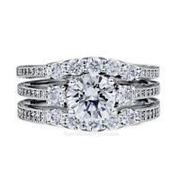 3 Stone CZ Ring Engagement Three pc Set Sterling Silver Cubic Zirconia 1/2 Sizes