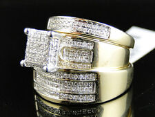 10K Yellow Gold Round Cut Diamond Engagement Bridal Wedding Ring Trio Set .85Ct