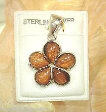 18mm Hawaiian Sterling Silver Genuine Koa Wood Pua Melia Plumeria Flower Pendant