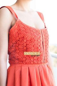 SALE!! d288 BNWT KOOKAI Crochet Lace Overlay Dress Orange Size 14
