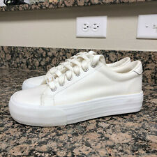Vintage 90's Soda White Real Leather Platform Sneakers Size 8.5