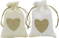20pcs Jute Cloth Favor Pouches Wedding Party Burlap Heart Gift Bags Drawstring