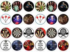 24 cake topper darts dartboard oche player arrows bun cupcake toppers party