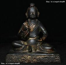 "7"" Old Tibetan Buddhism Temple Purple Bronze Gilt Yellow Jambhala Buddha Statue"