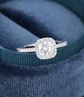 2.50 CTW Brilliant Cushion Cut Diamond Halo Engagement Ring Solid 14K White Gold
