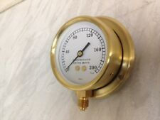 """4"""" Brass pressure gauge for steam driven models with back plate 0-200psi"""