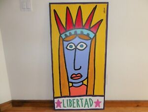 """LIBERTAD by PACO FELICI EARLY WORK on PLYWOOD ~~~ 24"""" X 48"""""""