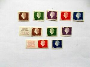 CANADA: 1962 Q Elizabeth II defins 10 stamps incl Coils to 5cts Mint Sg527/34
