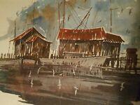 """Norfolk, VA artist Herb Jones - signed matted & framed """"FISHERMAN'S COVE"""" print"""