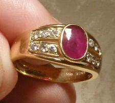 18ct Gold Diamond & Ruby Ring 0.75ct UK Hallmark London 1997 Size O 5.1gm Boxed