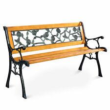 "Goplus 49 1/2"" Patio Park Garden Porch Chair Bench Cast Iron Hardwood Rose"