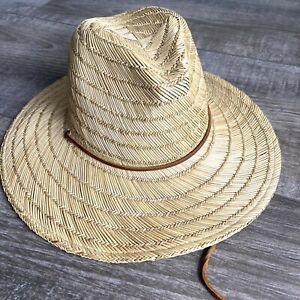 Brixton Straw Hat Fedora One Size Beige Leather Adjustable Logo  Made USA