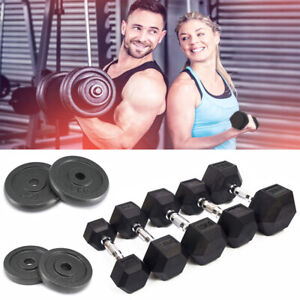 "Hex Dumbells Cast Iron Rubber Encased Hexagonal Dumbbells Gym 1"" Weight Plates"