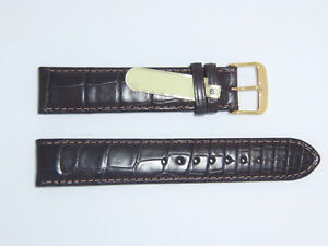 DI-Modell Genuine Louisiana 19 mm D' BROWN Alligator Leather Watch Band Strap
