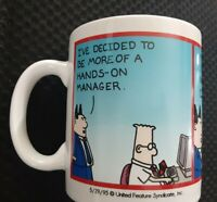 "Dilbert Coffee Mug Cup by Scott Adams "" Hands on Manager "" Vintage 1995"