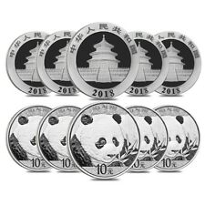 Lot of 10 - 2018 30 gram Chinese Silver Panda 10 Yuan .999 Fine BU