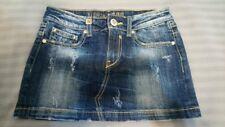"Women Ladies Eighth Sin Blue Distressed Denim Jeans Short Skirt Size 26"""
