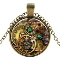 Watch Cogs Gothic Steampunk Necklace Pendant Victorian Punk Vintage Jewellery UK