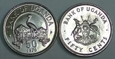 Uganda 50 Cents, 1976 Km 4a UNC SCARCE or RARE YEAR