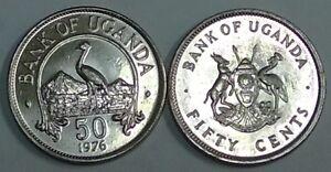 Uganda 50 Cents, 1976 Km 4a UNC SCARCE or RARE YEAR