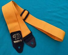 D'Addario Genuine Leather Ends Original Yellow Guitar Strap Made in USA