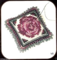 Mill Hill Magnetic Stitched and Beaded Linen Kit Pin Pillow ~ VINTAGE ROSE #1