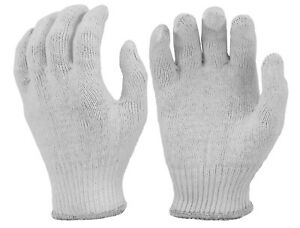 Heavy Weight 100% Cotton String Knit Glove Liners White (Pack of 12 Pairs)