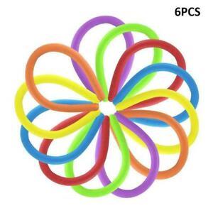 6Pc Stretchy Noodle String Neon Kids Childrens Fidget Stress Relief Sensory Toys