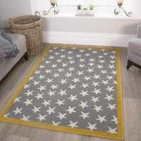 Grey Childrens Nursery Rug Kids Star Mat Soft Ochre Yellow Bedroom Playmat