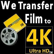 8mm + 16mm + Super8 Movie Reel Film to 4K UHD Ultra High Definition Pro SERVICE