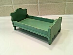 Vintage Dollhouse Miniature Wooden Child's Bed Painted Green 1:12