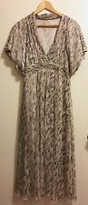 Kimono Maxi Dress White & Gray Feather Print Flutter ~ Boho ~ Anthropologie ~ M