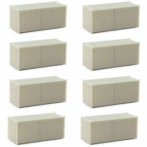 8pcs HO Scale 20ft 1:87 Shipping Container Blank Uncolored 20' Cargo Box