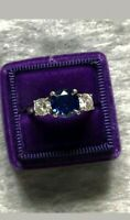 18k White Gold Over 3Ct Round Blue Sapphire Diamond Trilogy Engagement Ring