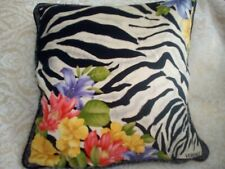 VERSACE HOME COLLECTION  PILLOW COVER  IN SILK ZEBRA AND FLOWERS 17 x 17 inches