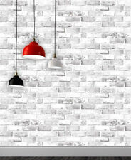White Brick Effect Wallpaper 3D Weathered Stone Realistic Debona Paste The Paper