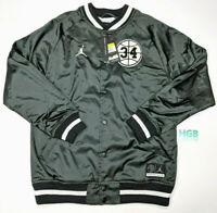 Nike Air Jordan He Got Game Satin Jacket Mens Black White Varsity AR1169-010 NWT