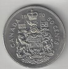 CANADA,  1970,  50 CENTS,  NICKEL,  KM#75.1, BRILLIANT UNCIRCULATED
