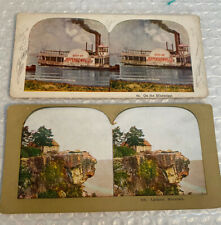 Stereoviews Lookout Mountain and City of Jeffersonville Sidewheeller ship