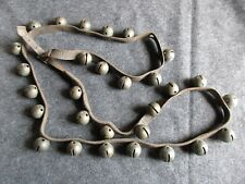 VINTAGE HORSE SLEIGH BELLS, 29 BRASS BELLS WITH LEATHER STRAP,   DAY-02338