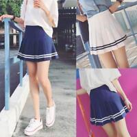 Women Tennis Plaid Pleated Mini Skirt Girl School Skater High Waist Shorts Skirt